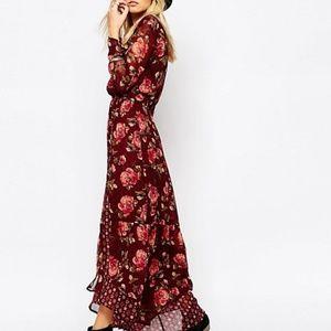 NWT! A&F Chiffon Wrap Long Sleeve Maxi dress
